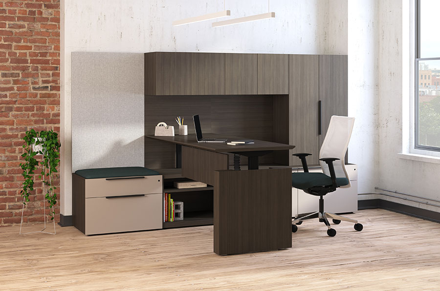 wood look office space with desk that adjusts from sitting to standing