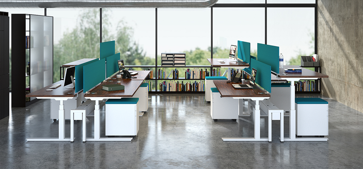 configurable workplace components with desktops that have height adjustment features