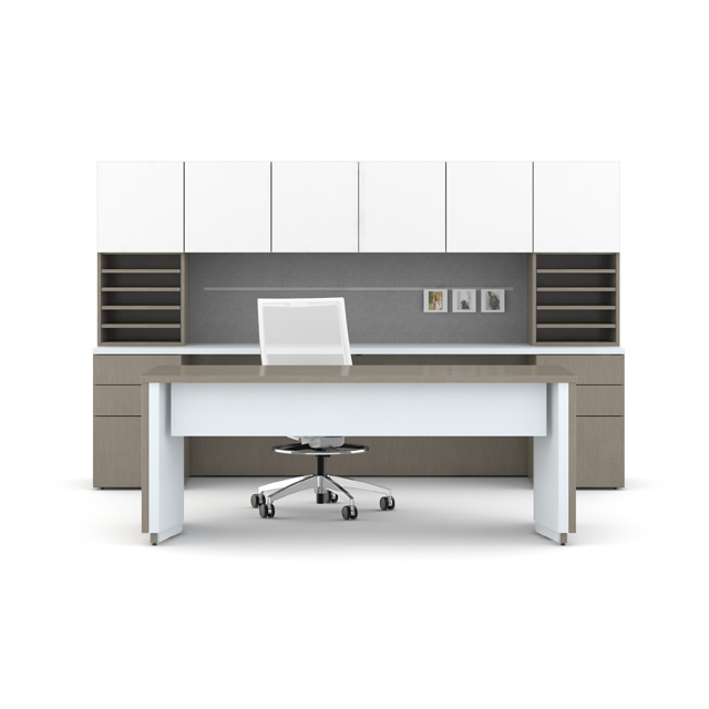 sleek modern work space with filing shelving and separate height adjustable desk