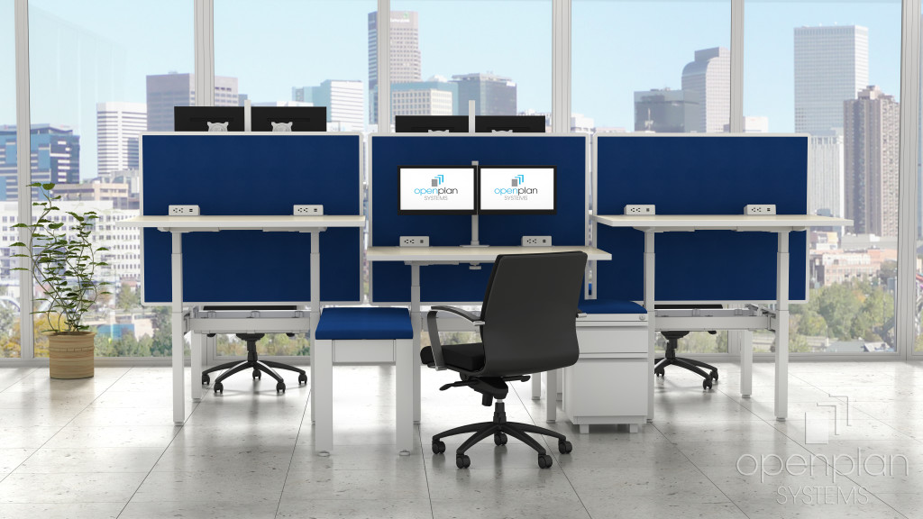 6-person workstation where each each station's desk can adjust its height as needed