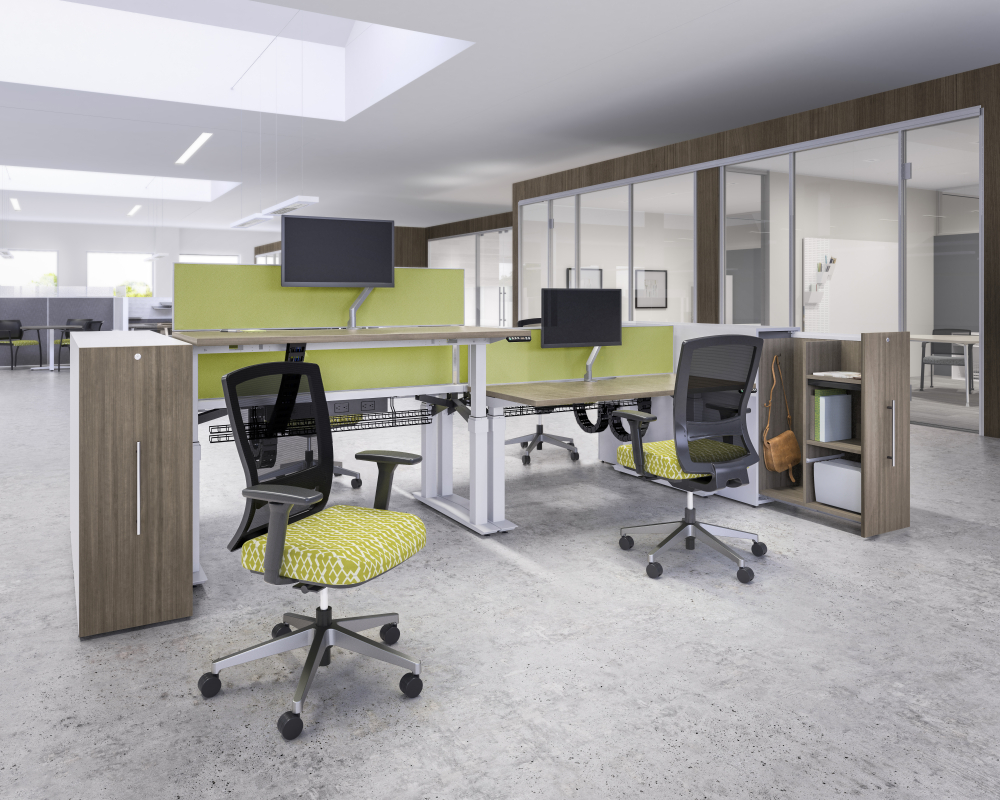 colorful open space workstations with bright green accents and adaptable desk heights