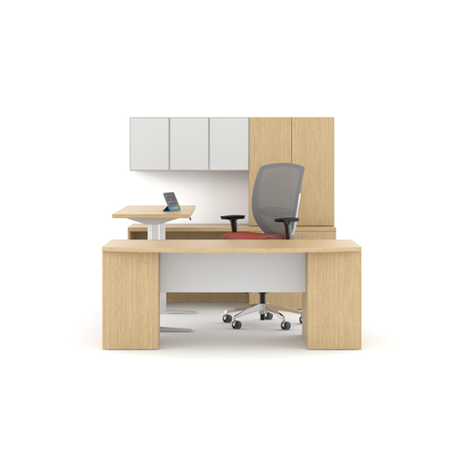sleekly designed office   with wood accents on desk  and separate adjustable table