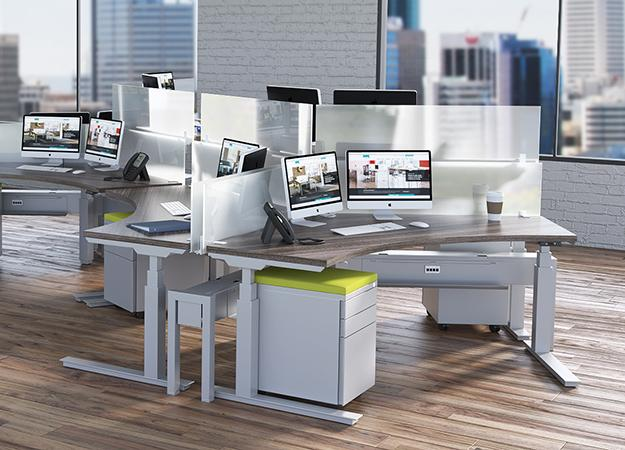 semi-circular workstations with attached privacy panel and height adjustable