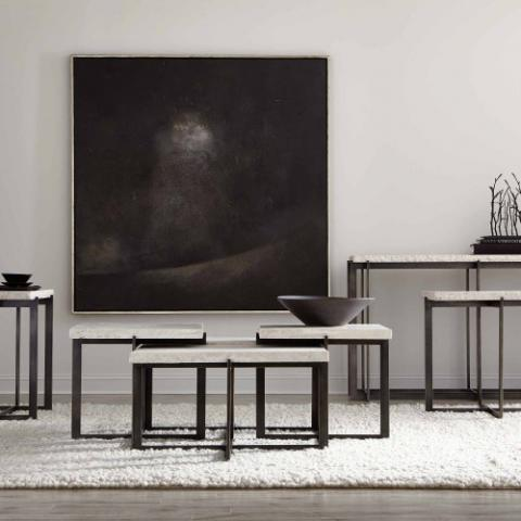 serene contemplation in this modern black and white themed space with tables and benches