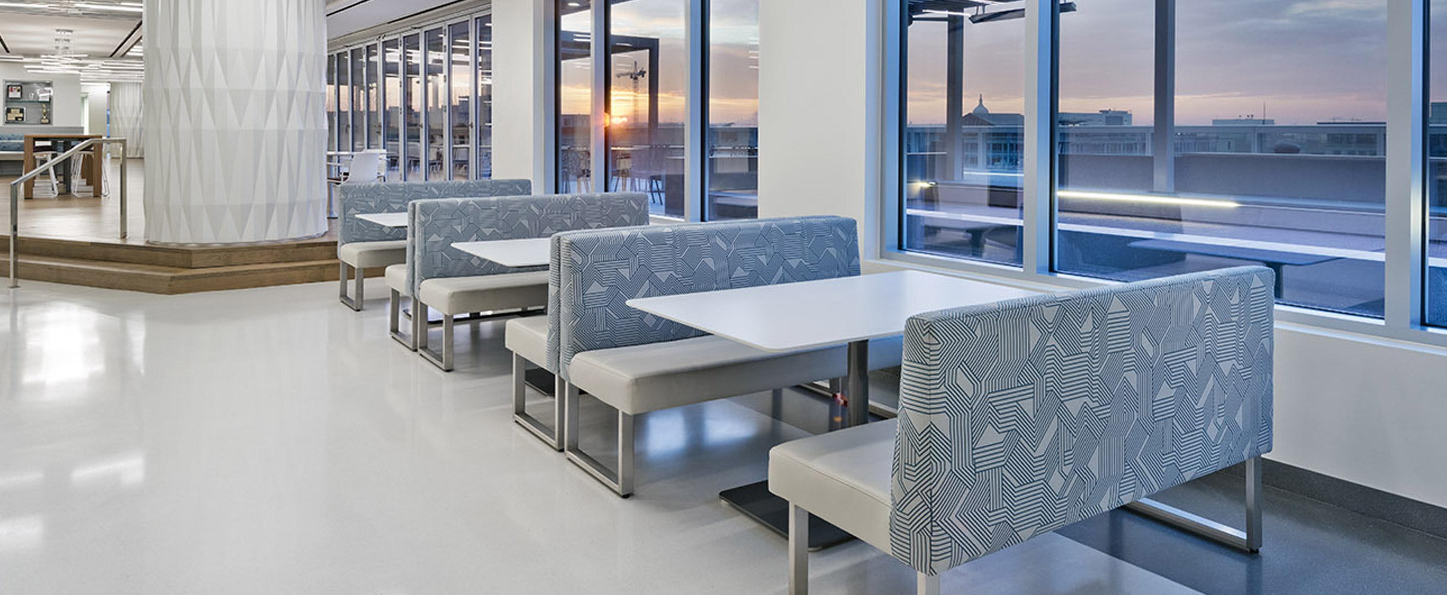 dining or work booths with easy clean table tops and flexible configuration
