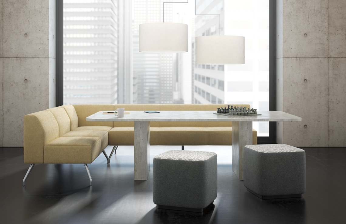 Classic Kimball Dock Meeting table in white  shown with upholstered sectional and stools.