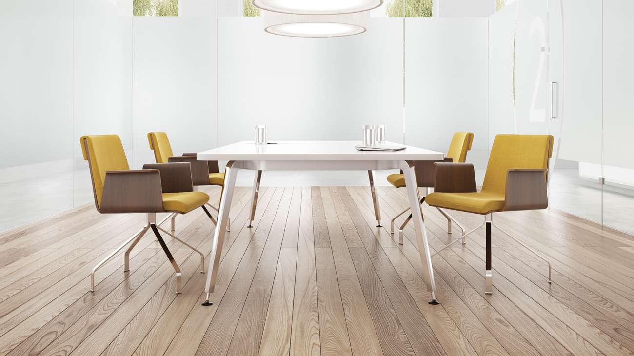 OFS Eleven, a collection of tables that is functional design at it's best. Height adjustable with a variety of surface options.