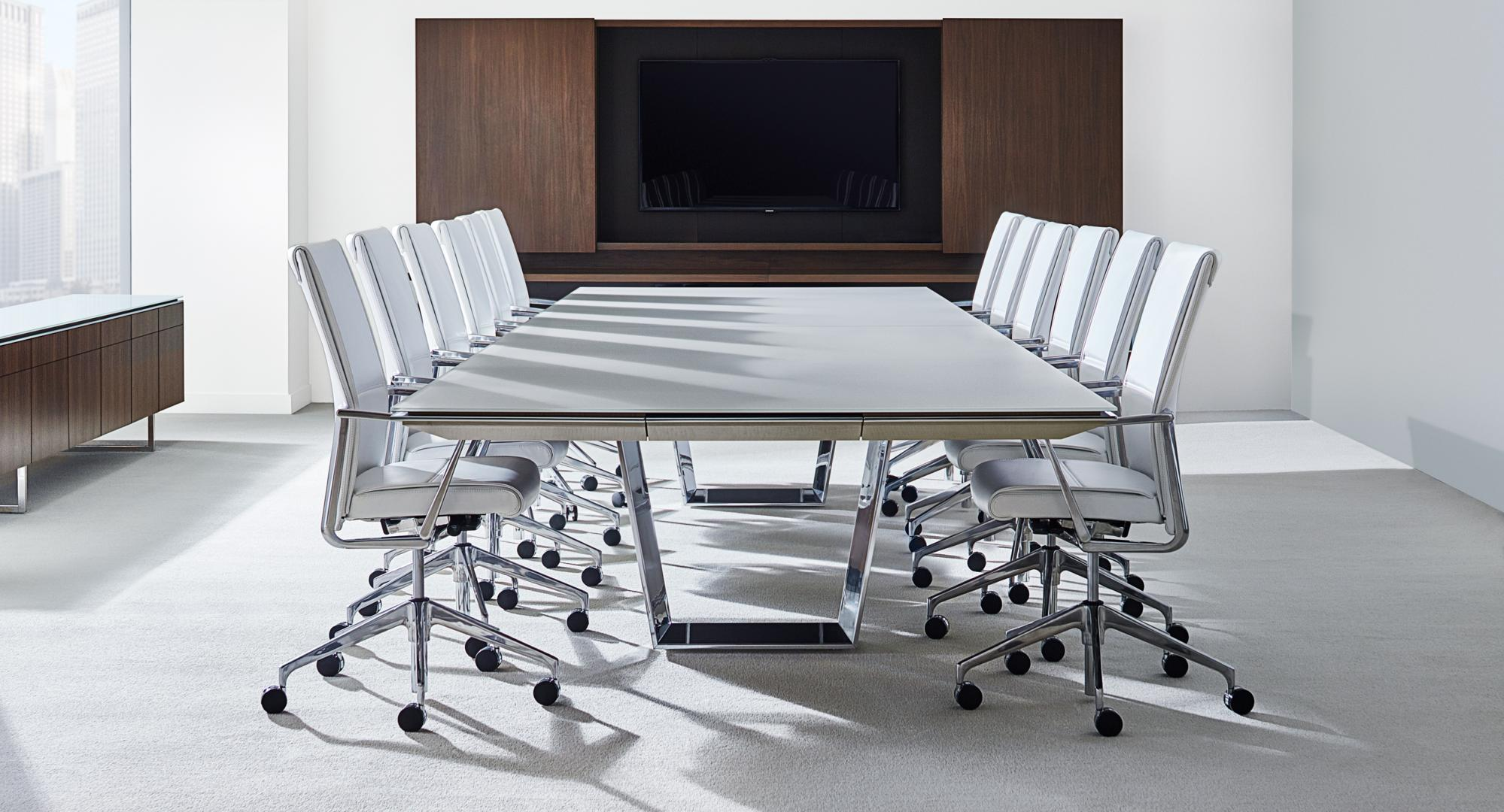 The Halcon Mesa meeting room table incorporates perimeter power technology and award-winning design with a variety of options.